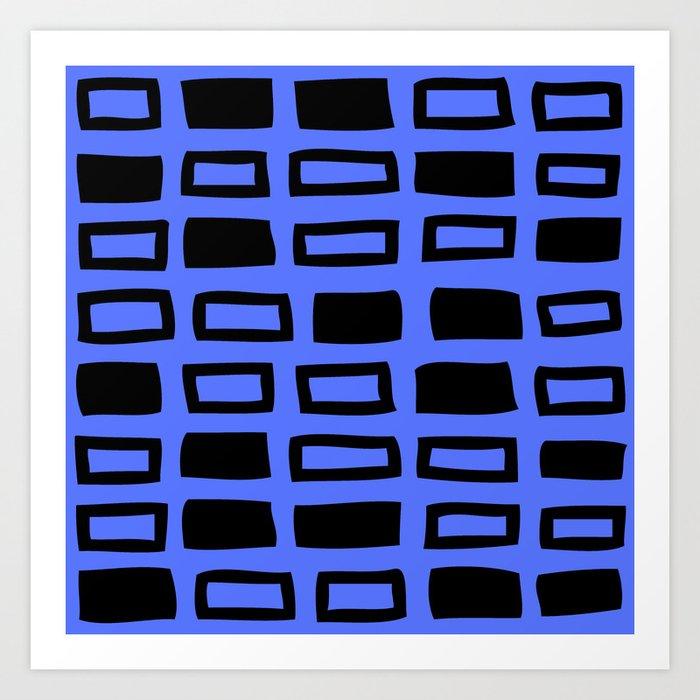 Mid Century Modern Abstract Squares Pattern 542 Black and Blue Kunstdrucke