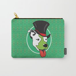 Dog with Tall Hat & Green Background Carry-All Pouch