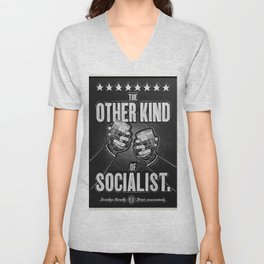 """Vintage """"The Other Kind of Socialist"""" Alcoholic Lithograph Advertisement in shiny silver Unisex V-Neck"""
