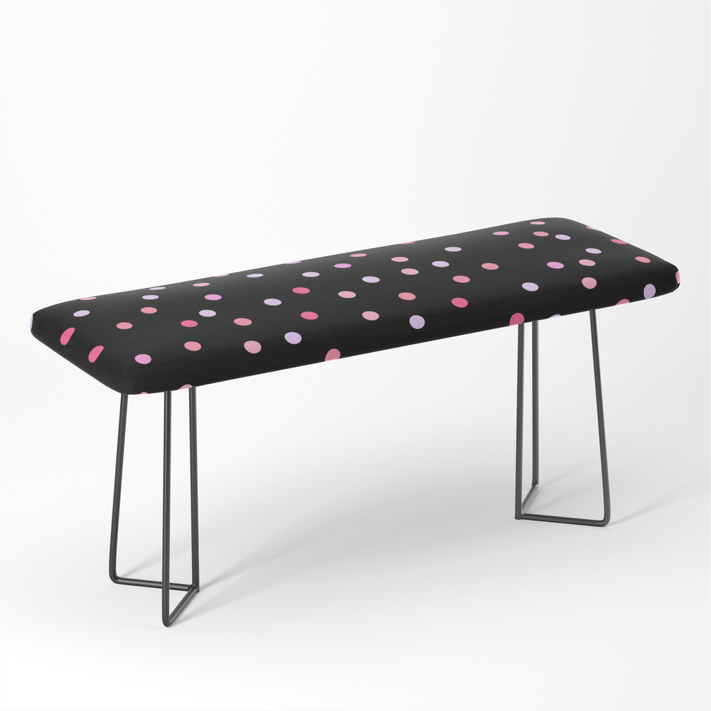 Polka_Dot_Rose_Pink_Pattern_For_Her_Christmas_Fun_Bedroom_Decor_Bench_by_thehappysalad