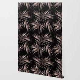 Rosegold Palm Tree Leaves on Midnight Black Wallpaper