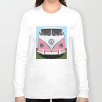 vw bus Long Sleeve T-shirts featuring The Pink  VW Love Bus of Peace  by BruceStanfieldArtist illustrator