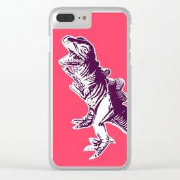 Dino Pop Art - T-Rex - Neon Pink & Dark Purple Clear iPhone Case