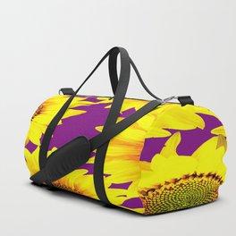 Sunflowers on a purple background - summer mood - #Society6 #buyart Duffle Bag