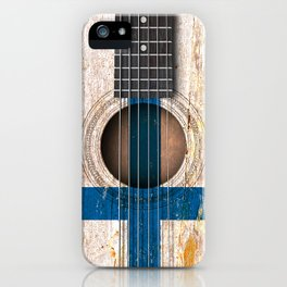 Old Vintage Acoustic Guitar with Finnish Flag iPhone Case