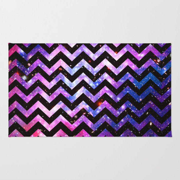 Girly Rugs For Bedroom: Girly Chevron Pattern Cute Pink Teal Nebula Galaxy Rug By