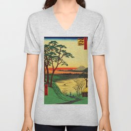 Japanese Tea House on River Unisex V-Neck
