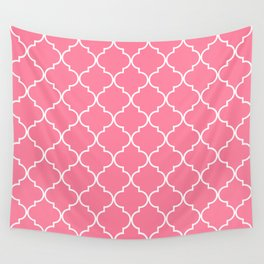 Quatrefoil - Watermelon pink Wall Tapestry