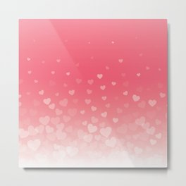 Valentines Day Floating Hearts Pattern Metal Print