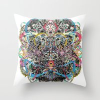 mask Throw Pillows featuring Mask by Nicole Linde