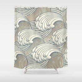 Ocean Waves Pattern Ancient Japan Art Shower Curtain