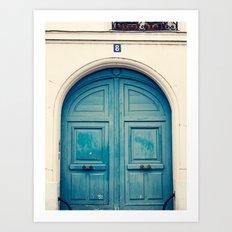 Paris door, blue navy Art Print