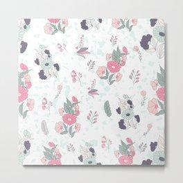 Cute colorful flowers attern Metal Print