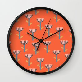 Cute Floral Pattern in Orange Wall Clock