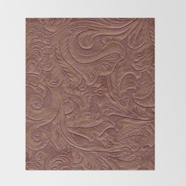 Chocolate Brown Tooled Leather Throw Blanket