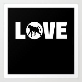 Monkey Love Lettering Gift Idea Design Motif Art Print