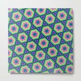 Muted Rainbow Embroidery Pattern Metal Print