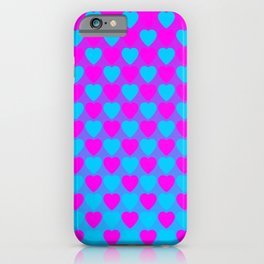 Zigzag of iridescent light blue hearts staggered on a pink background. iPhone Case