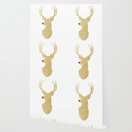 Rudolph The Red-Nosed Reindeer | Gold Glitter Wallpaper