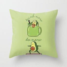 Drink More Smoothie Do More Yoga Avocado Throw Pillow