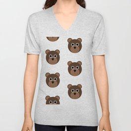 Brown Bears Pattern Unisex V-Neck