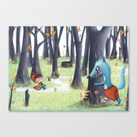 red riding hood Canvas Prints featuring Red Riding Hood by Antoana Oreski Illustration