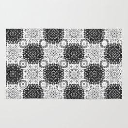 Black and White Gothic Lacy Mandala and Checker Tile Rug