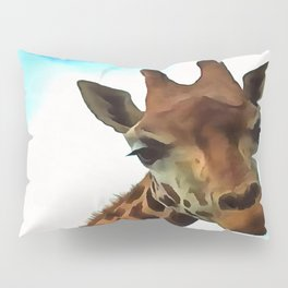 Hello up there! Fun Giraffe With Nerdy Expression Pillow Sham