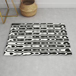 Asymmetry collection: black and white dynamic waves Rug