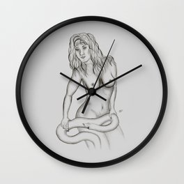 Female Nude with Snake Wall Clock