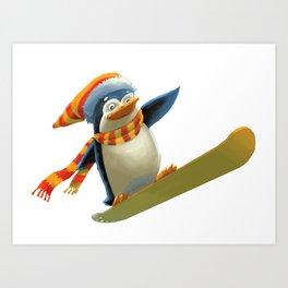Funny Mr. Penguin riding snowboard Art Print