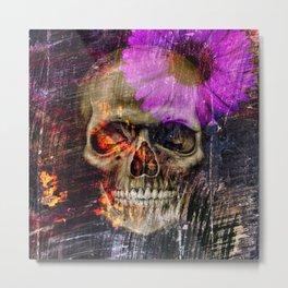 Daisy Skull Metal Print