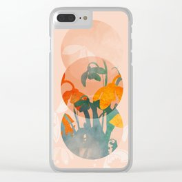 floral abstract bloom shapes Clear iPhone Case