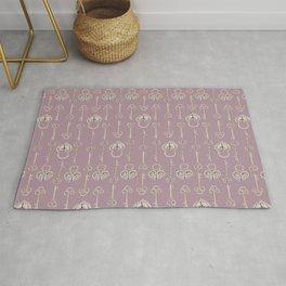 Purple mauve old padlocks and keys vintage style pattern Rug