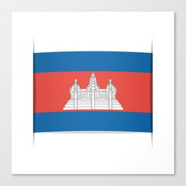 Flag of Cambodia.  The slit in the paper with shadows.  Canvas Print