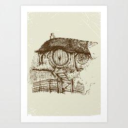 Hobbit house ink Art Print