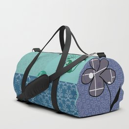 Patchwork of eight author images in blue and light green colors from FishCard Duffle Bag