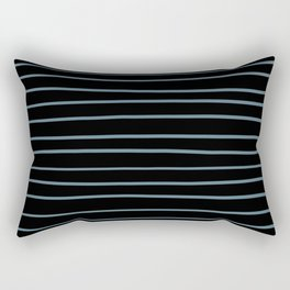 Inspired by Behr Blueprint Blue S470-5 Hand Drawn Horizontal Lines on Black Rectangular Pillow