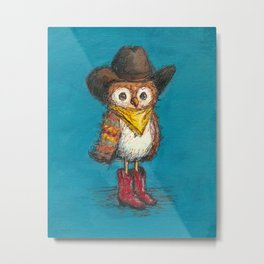 Cowboy Owl Metal Print