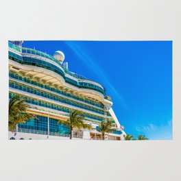 Curved Glass Over Balconies on Luxury Cruise Ship Rug