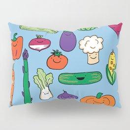 Cute Smiling Happy Veggies on blue background Pillow Sham