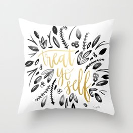Treat Yo Self Gold Throw Pillow