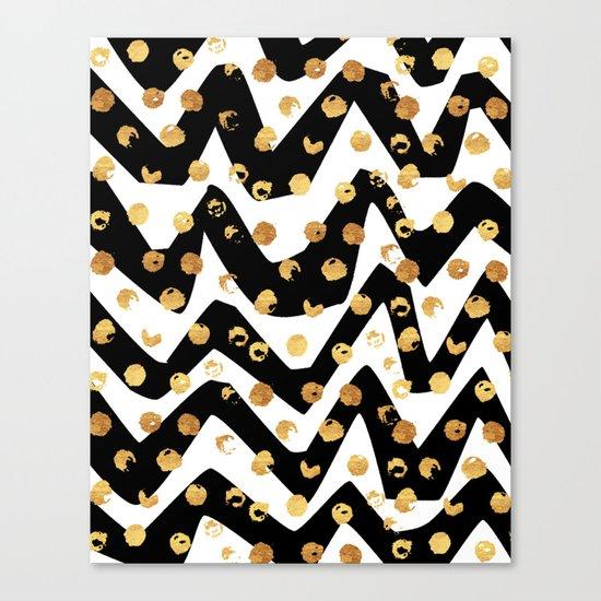 Gold Glory | Gold Foil Pattern, Black White Geometric Pattern, Mosaic Pattern, Gold Seamless Pattern Canvas Print