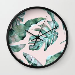 Tropical Palm Leaves Turquoise Green Coral Pink Wall Clock