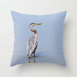 Great Blue Heron Fishing - I Throw Pillow