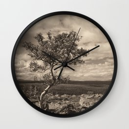 One tree in the mountains Wall Clock