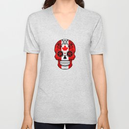 Sugar Skull with Roses and Flag of Canada Unisex V-Neck