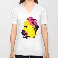 nietzsche V-neck T-shirts featuring Friedrich Wilhelm Nietzsche by DIVIDUS