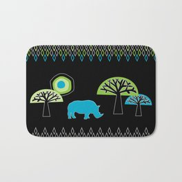 African Rhino (Cool colors) Bath Mat