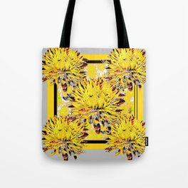 Abstracted Grey-Yellow Chrysanthemums Floral Tote Bag